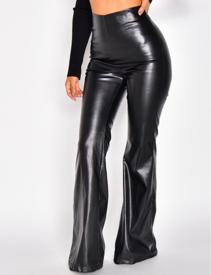 Pantalon en simili à patte d'eph