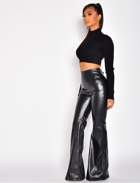 Faux Leather Flared Trousers