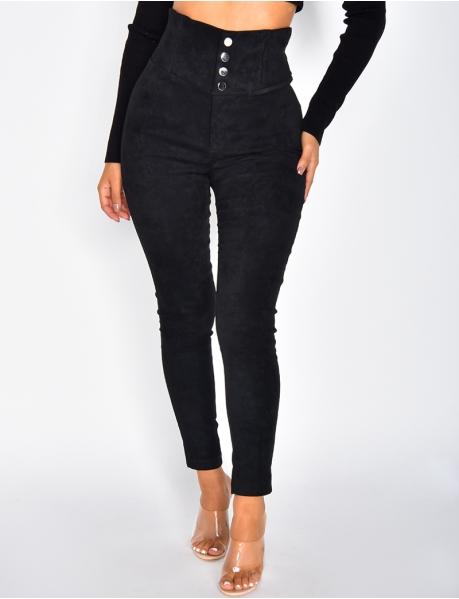 Pantalon en suédine taille haute
