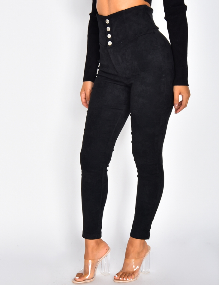 High Waiasted Suedette Trousers