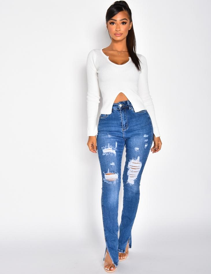 Jeans taille haute destroy à fentes