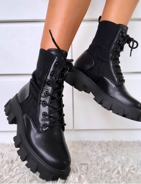 Bi Material Ankle Boots