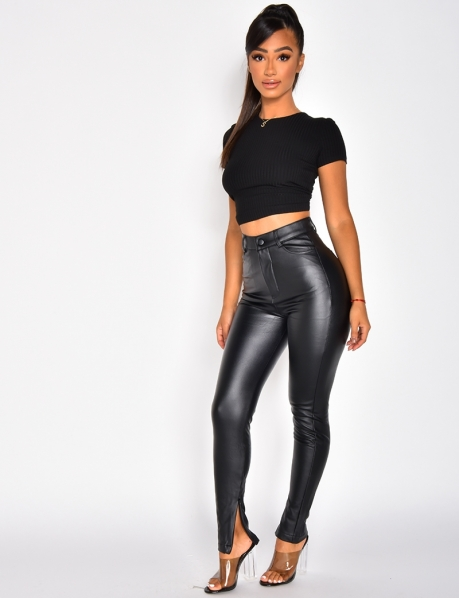 Faux Leather Trousers with Zip