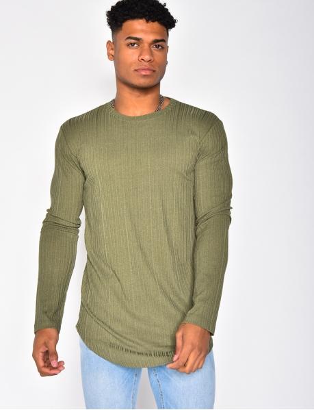 T-shirt manches longues texturé
