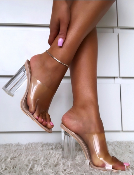 Transparent Sandals with Square Heel