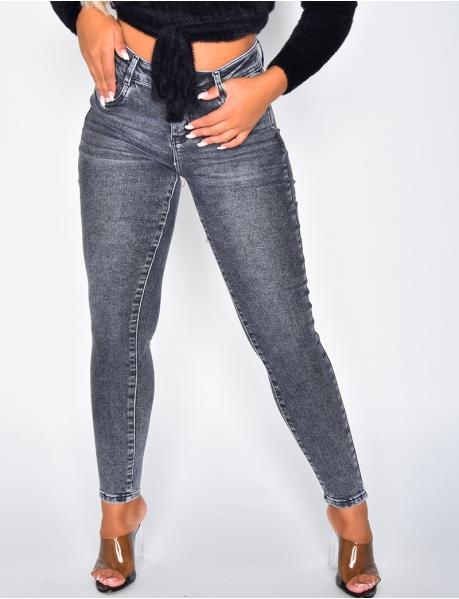 Jeans skinny gris délavé