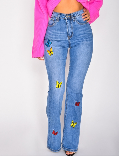 High Waisted Flared Jeans with Butterflies