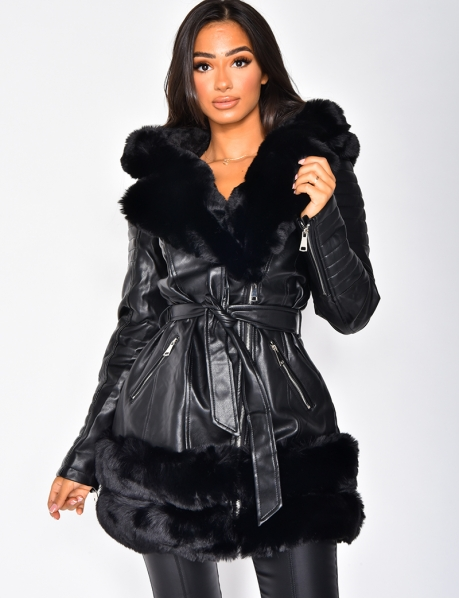 Faux Leather and Fur Tie Jacket