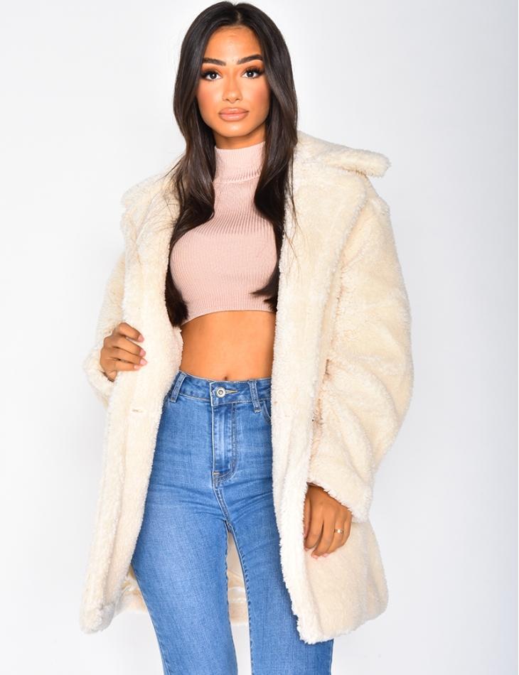 Manteau effet peau de mouton
