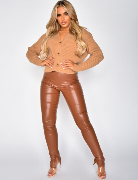 Faux Leather Leggings with Slits
