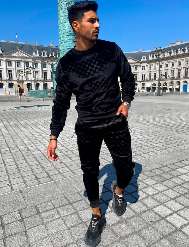 Jogging en velours à carreaux