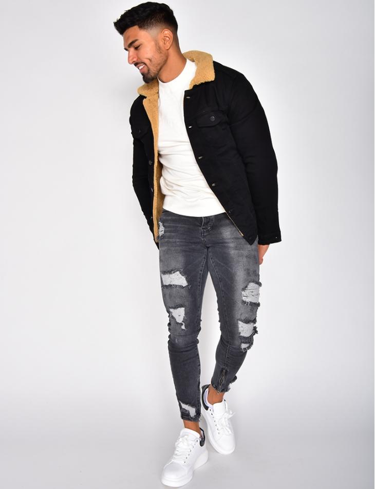 Veste en jeans molletonnée