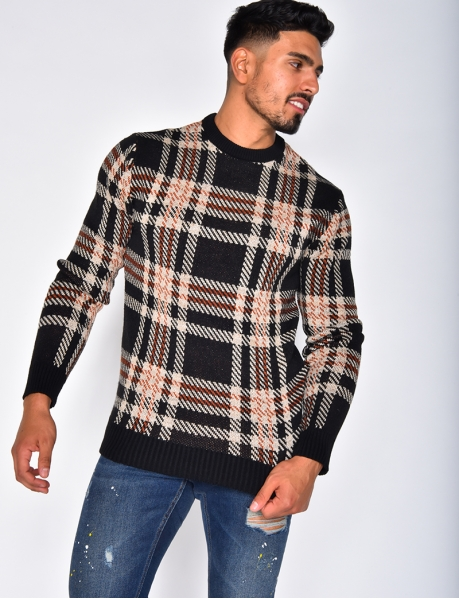 Checked Jumper with Round Neckline
