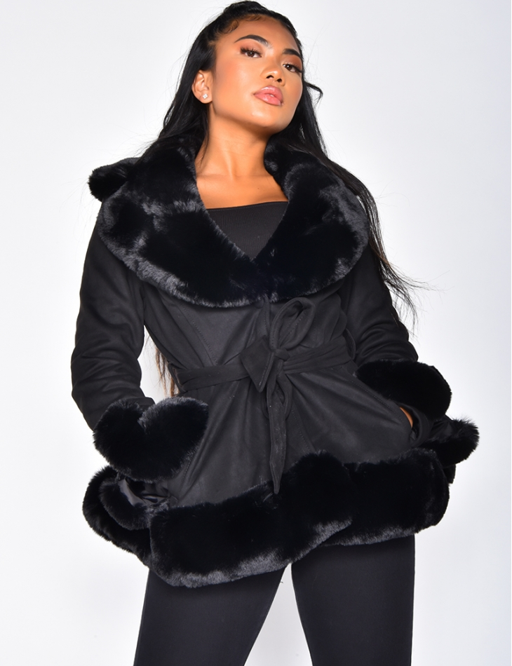 Suedette Faux Fur Tie Jacket