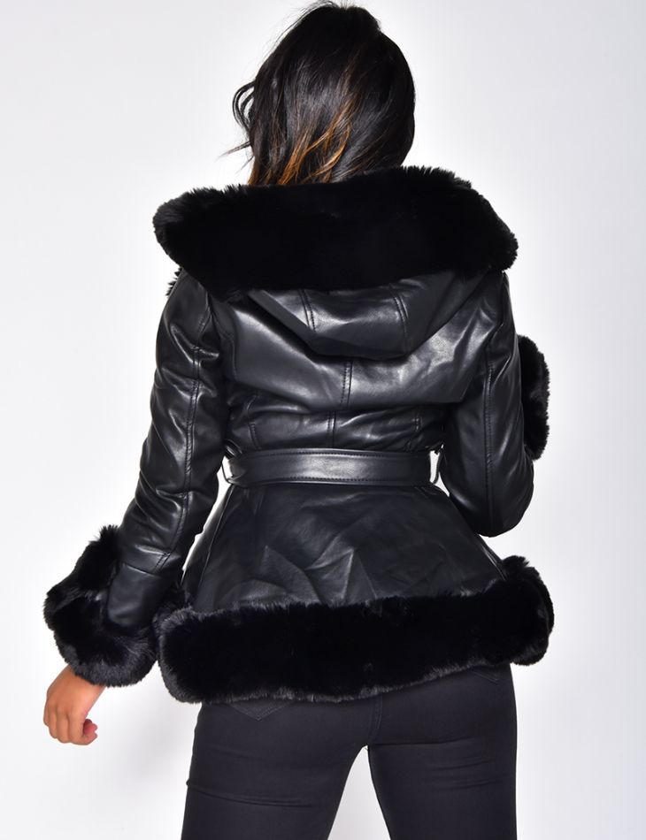 Tie Jacket with Faux Fur Hood