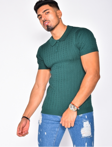 Cable Knit Polo Shirt