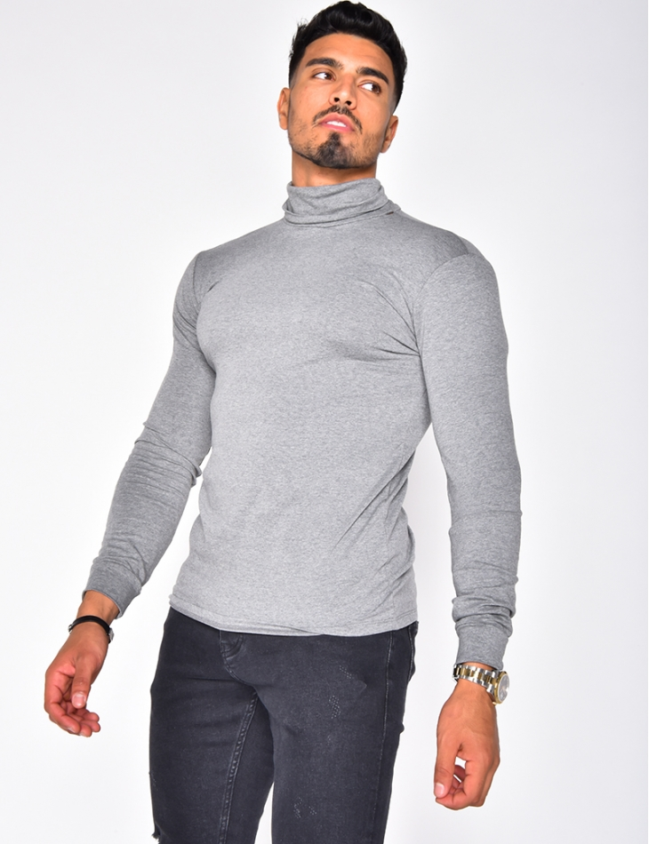Long Sleeved T-shirt with Polo Neck