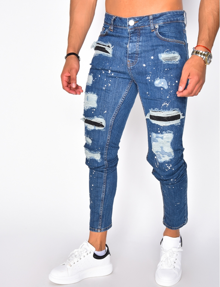 Ripped Jeans with Rhinestones and Paint Flecks