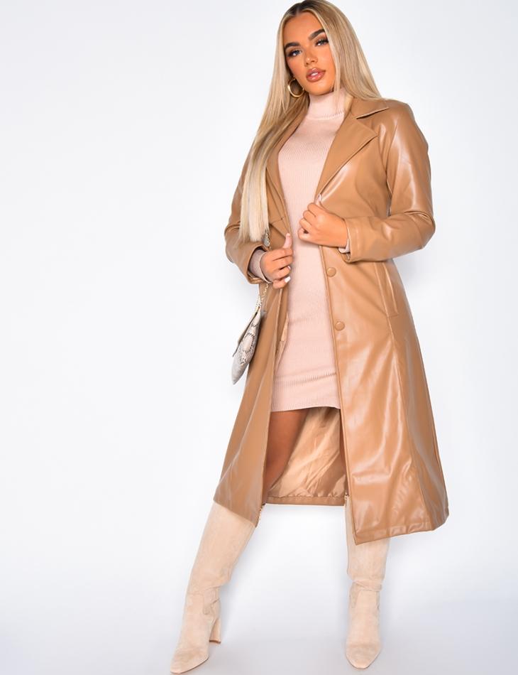 Manteau en simili à boutons et à nouer