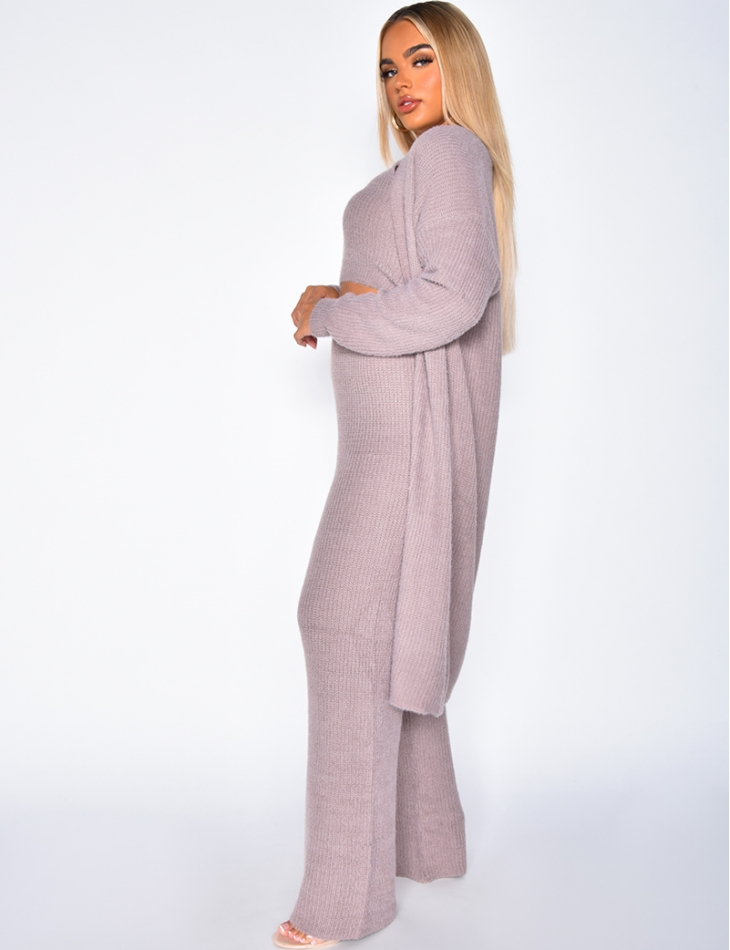 Super Soft Crop Top, Cardigan and Trousers Co-ord