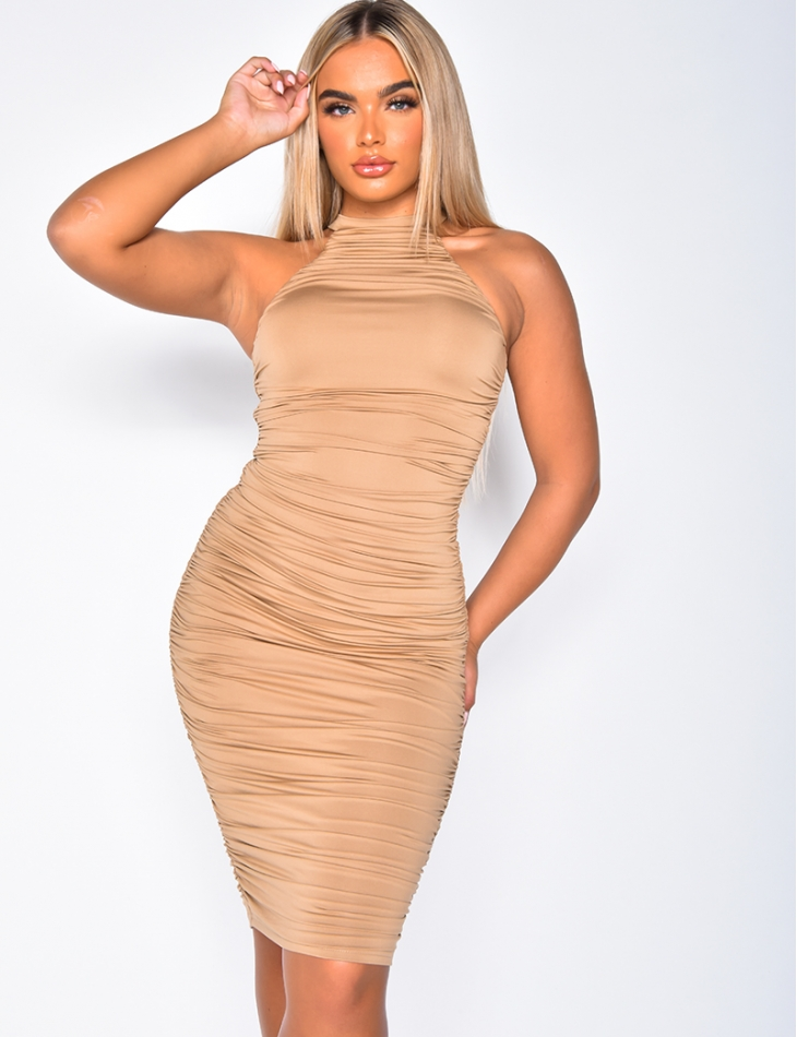 High Neck Draped Dress