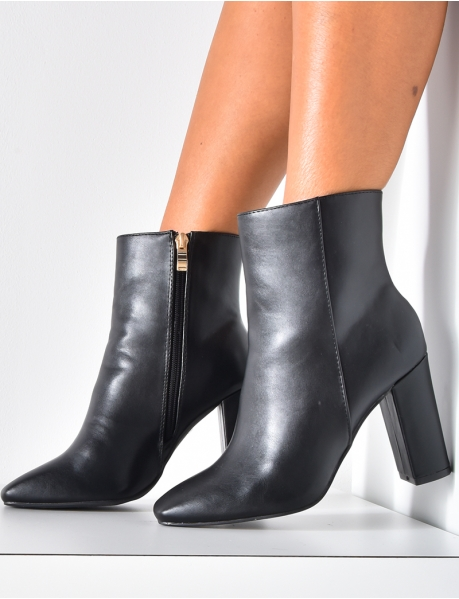 Faux Leather Heeled Ankle Boots