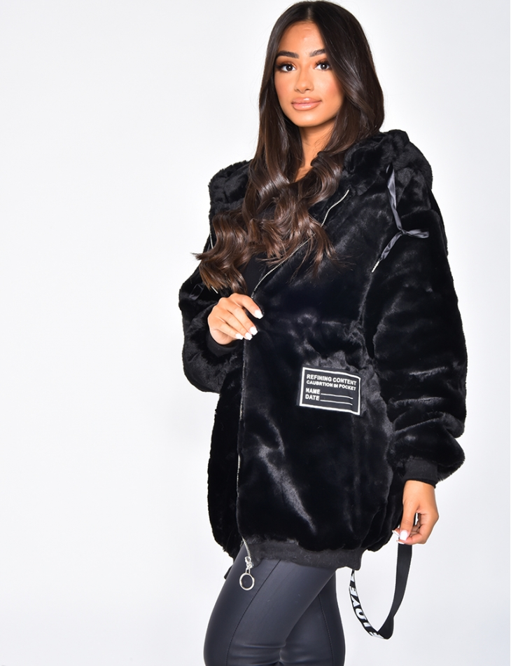 Faux Fur Jacket with Writing