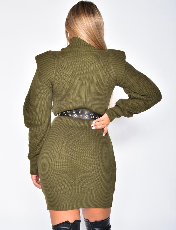 High Neck Jumper Dress with Shoulder Pads