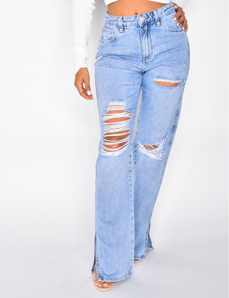 Jeans straight destroy à fentes