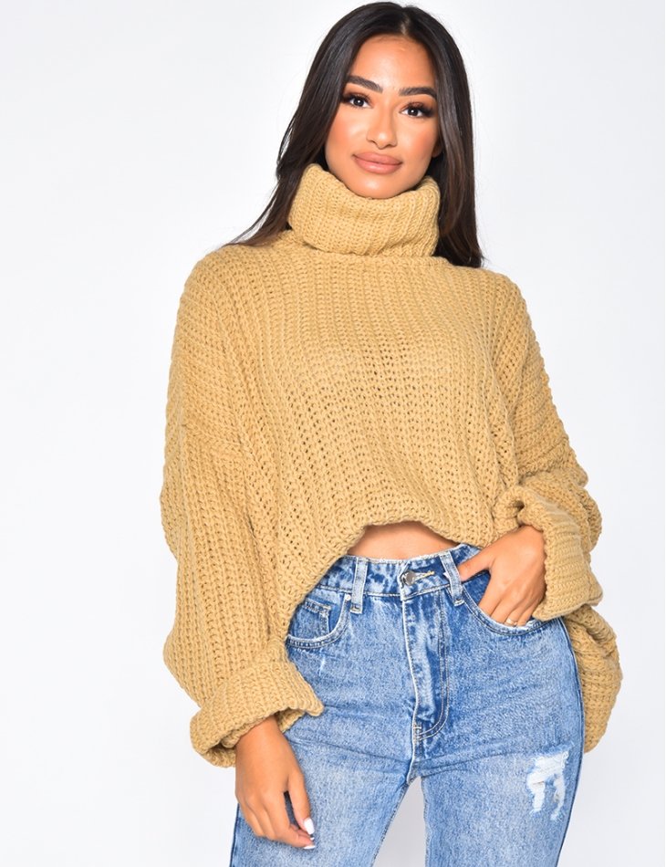 Oversized Cable Knit Polo Neck Jumper