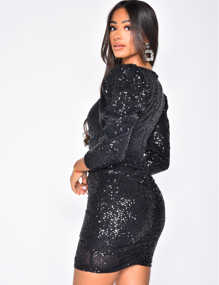 Gathered Dress with Sequins and Shoulder Pads