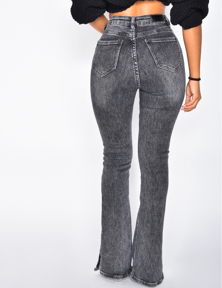 High Waisted Flared Jeans With Slits