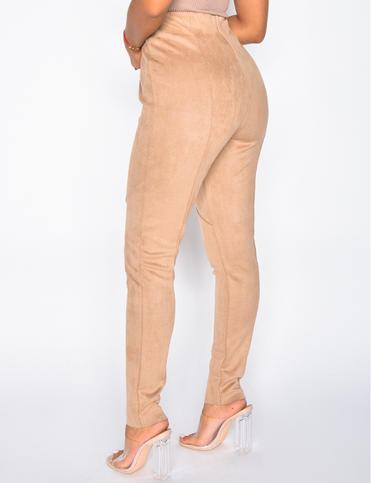 High Waisted Suedette Leggings