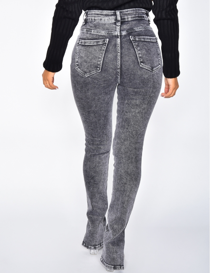 High Waisted Ripped Jeans with Slits