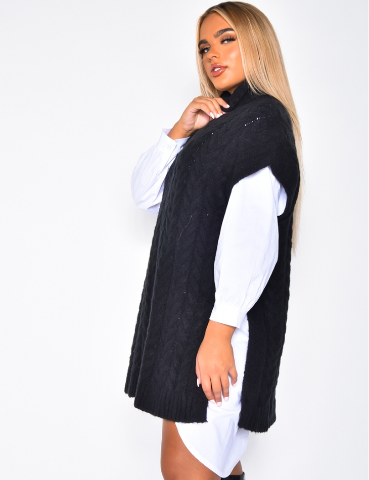 Robe Pull Col Roule Sans Manches Jeans Industry
