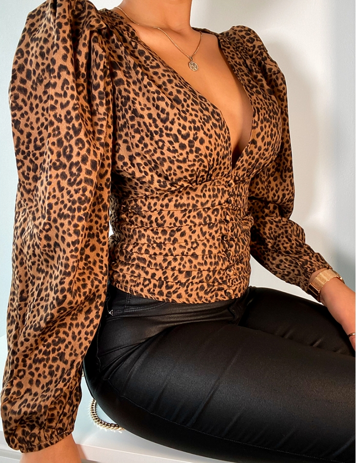 Wrapover Top with Leopard Pattern
