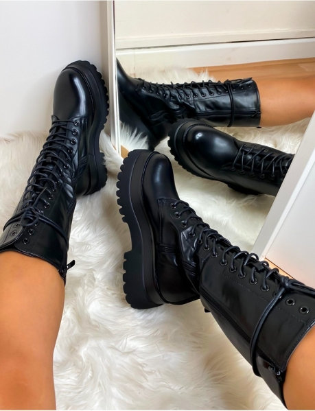 High Lace Up Ankle Boots
