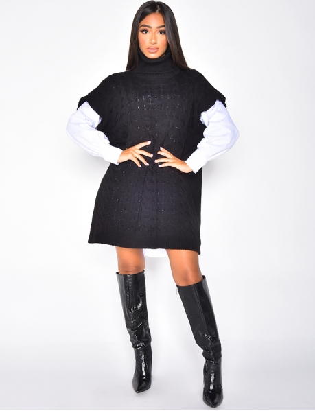 Sleeveless Polo Neck Jumper Dress