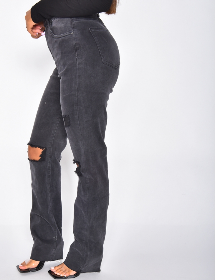 Ripped High Waisted Straight Leg Jeans