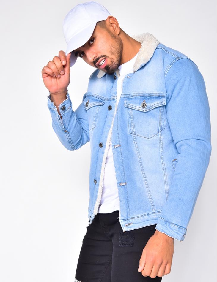 Veste en jeans fourrée