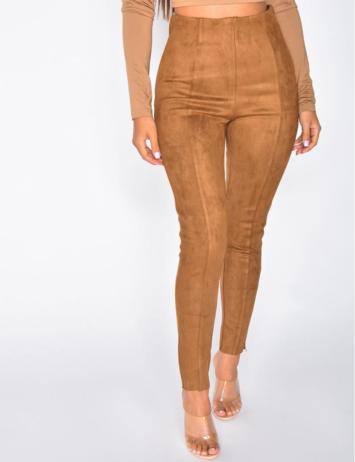 Pantalon taille haute en suédine
