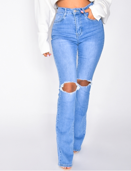 High-Waisted Ripped Flared Jeans