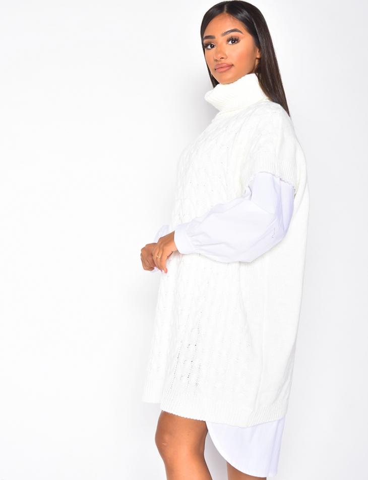Robe pull sans manches à col roulé