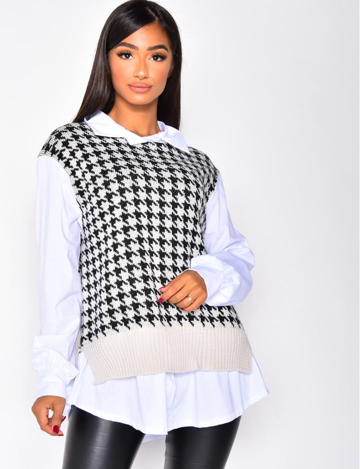 Pull chemise 2en1