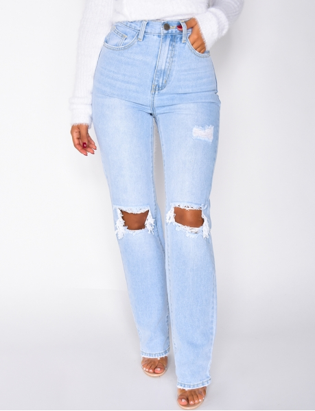 Ripped High-Waisted Jeans