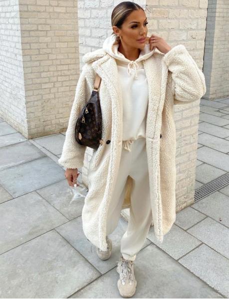 Manteau long oversize effet peau de mouton