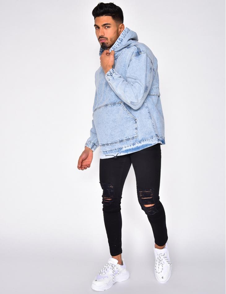 Veste en jeans délavé à enfiler
