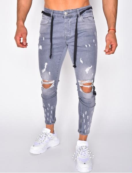Jeans destroy à bandes