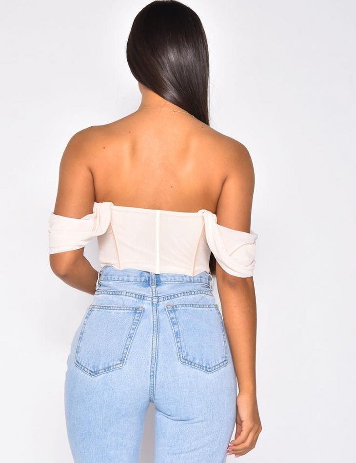 Crop top corset avec manche bouffante