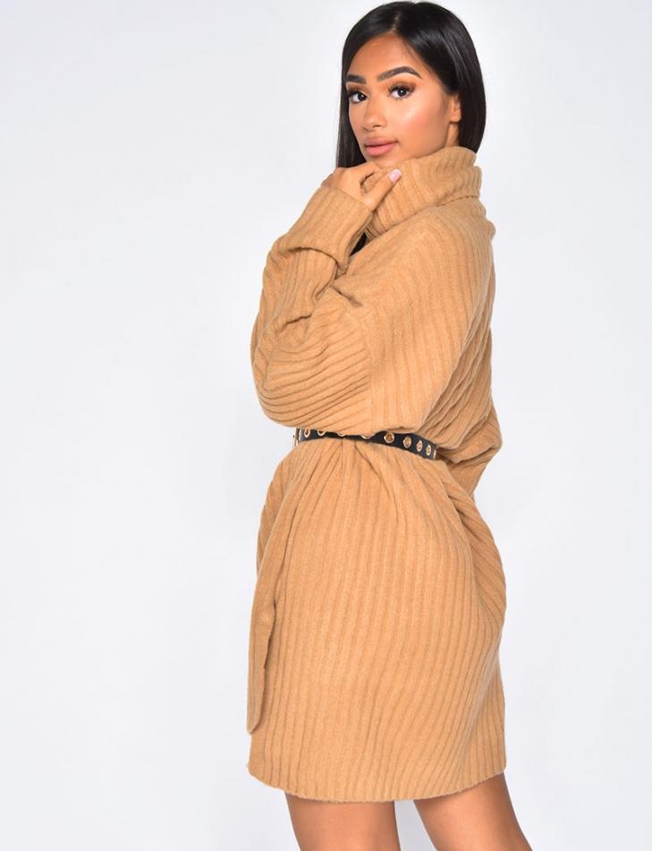 Robe pull col roulé